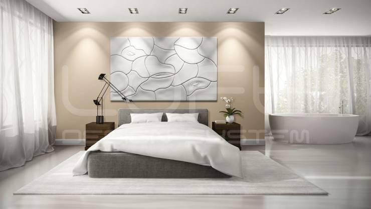Wandbild aus Gips Modell MOUGINS:  Schlafzimmer von Loft Design System Deutschland - Wandpaneele aus Bayern