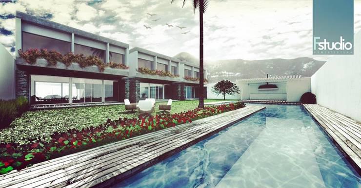 VILLAS CAMPESTRES: Albercas de jardín de estilo  por Fstudio Arquitectura