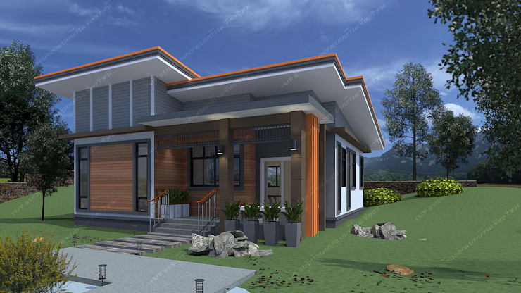 บ้านพักอาศัยชั้นเดียว:  บ้านและที่อยู่อาศัย by แบบบ้านออกแบบบ้านเชียงใหม่