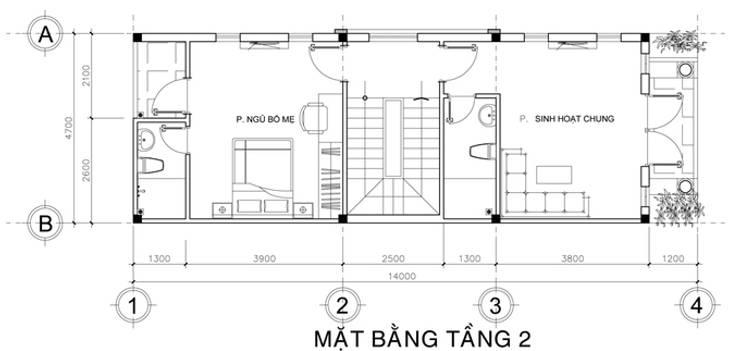 Thiết kế bản vẽ mặt bằng nhà phố 3,5 tầng:  Nhà by Công ty TNHH Xây Dựng TM – DV Song Phát