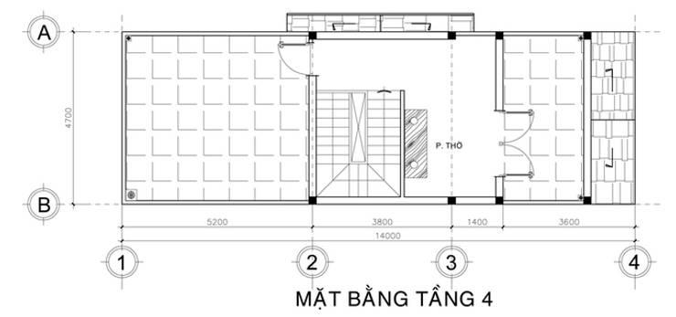 Thiết kế bản vẽ mặt bằng nhà phố 3,5 tầng:  Nhà gia đình by Công ty TNHH Xây Dựng TM – DV Song Phát