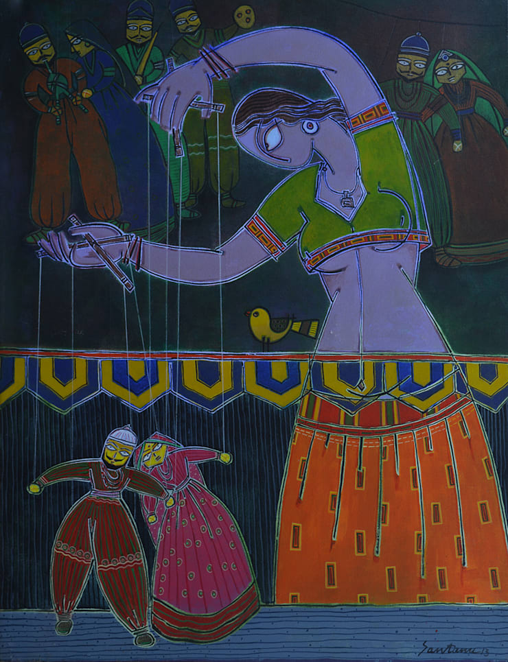 Lady with a puppet 2:  Artwork by Indian Art Ideas