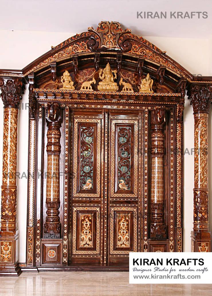 Pooja Room Door:  Wooden doors by Kiran Enterprises