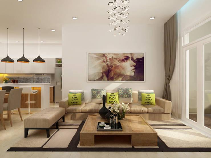 Thiết Kế Nhà 1 Tầng 3 Phòng Ngủ Chỉ Với 800 Triệu:  Phòng khách by Công ty TNHH Xây Dựng TM – DV Song Phát