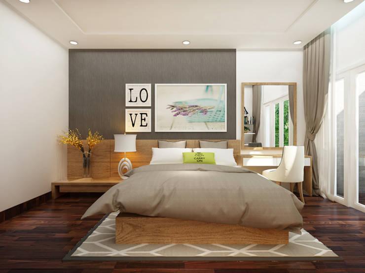 Thiết Kế Nhà 1 Tầng 3 Phòng Ngủ Chỉ Với 800 Triệu:  Phòng ngủ by Công ty TNHH Xây Dựng TM – DV Song Phát