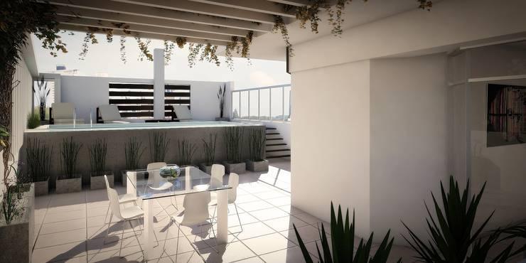 Arcadia 5: Terrazas de estilo  por Arcadia Arquitectura,