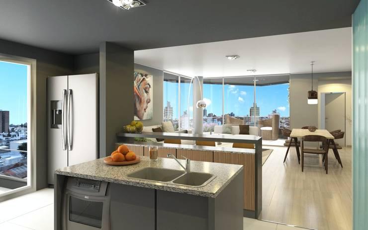 Arcadia 5: Cocinas de estilo  por Arcadia Arquitectura,