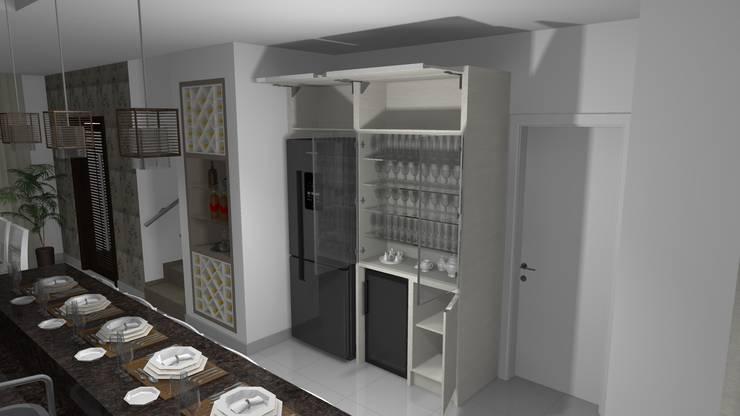 Cristaleira e adega: Cozinha  por Janete Krueger Arquitetura e Design