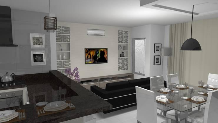 Cozinha com vista para sala de estar: Sala de estar  por Janete Krueger Arquitetura e Design