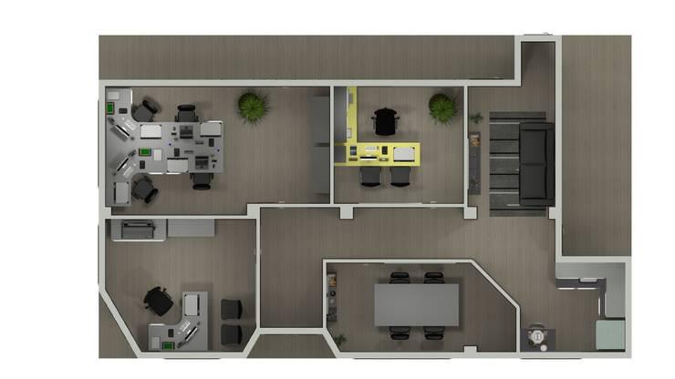 Layout escritório engenharia: Escritórios  por Janete Krueger Arquitetura e Design