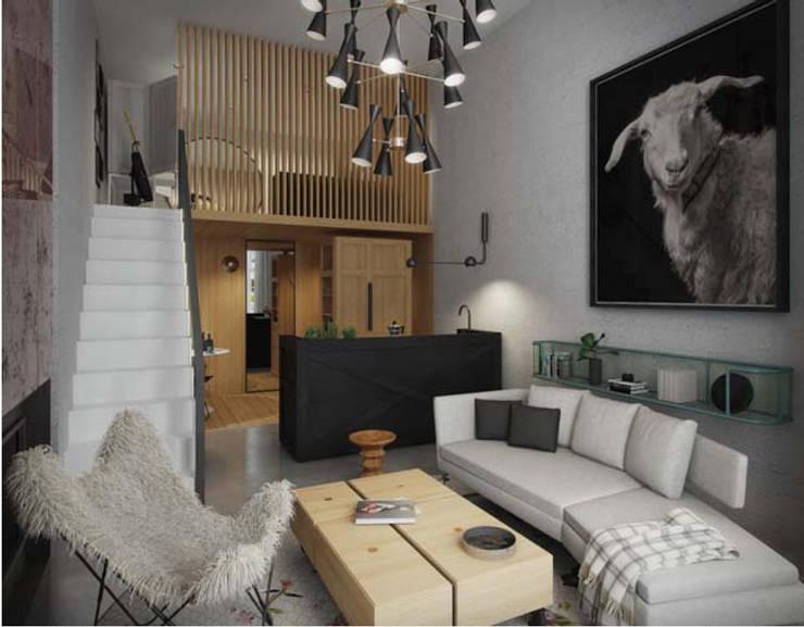 Không gian nội thất ngôi nhà được bài trí khoa học:  Phòng khách by Công ty TNHH Thiết Kế Xây Dựng Song Phát