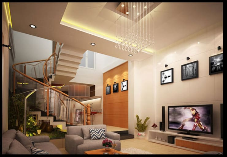 Tư Vấn Thiết Kế Nhà Ống 3 Tầng 1 Tum 5x18m Ở Bình Thạnh:  Phòng khách by Công ty TNHH Xây Dựng TM – DV Song Phát
