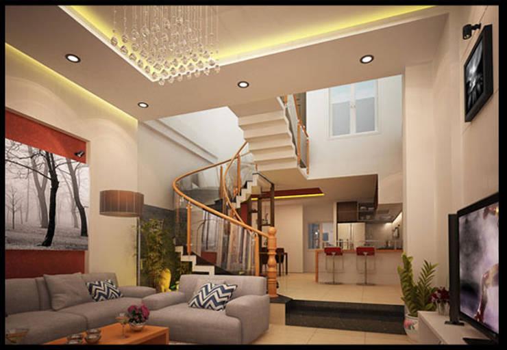 Phòng khách sang trọng với nội thất bài trí hài hòa:  Phòng khách by Công ty TNHH Xây Dựng TM – DV Song Phát