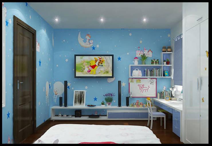 Phòng ngủ con gái với sắc xanh sinh động, vui tươi:  Phòng ngủ by Công ty TNHH Xây Dựng TM – DV Song Phát