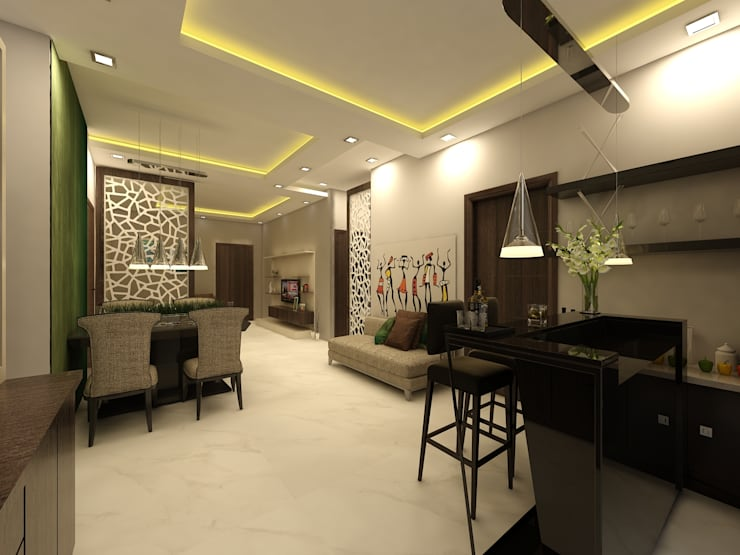 Bar Area:  Corridor & hallway by Regalias India Interiors & Infrastructure
