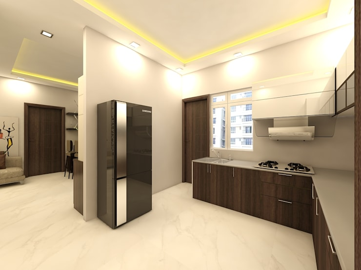 Kitcen:  Built-in kitchens by Regalias India Interiors & Infrastructure