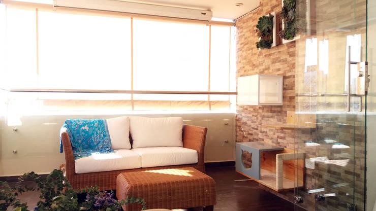 La creativa reforma del Star tv con balcón: Jardín de estilo  por TICKTO STUDIO