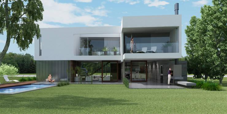 Casa R-R: Casas prefabricadas de estilo  por Estudio D3B Arquitectos