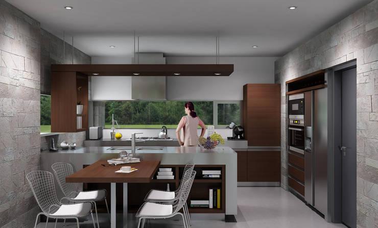 Casa R-R: Cocinas a medida  de estilo  por Estudio D3B Arquitectos