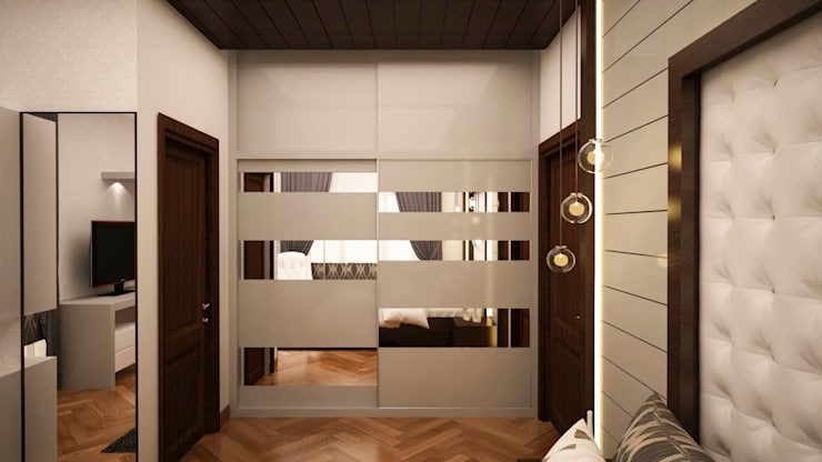 Wardrobe with loft - Sliding type :  Dressing room by NVT Quality Build solution