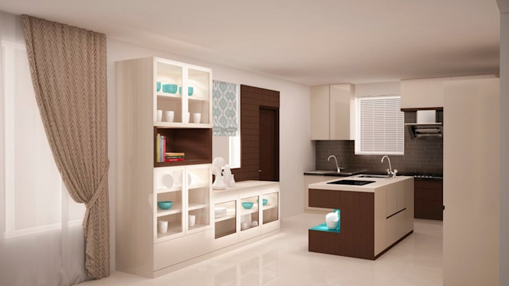 Full storage and island kitchen :  Kitchen by NVT Quality Build solution