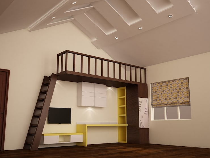 Above bed - below study  : rustic Nursery/kid's room by NVT Quality Build solution