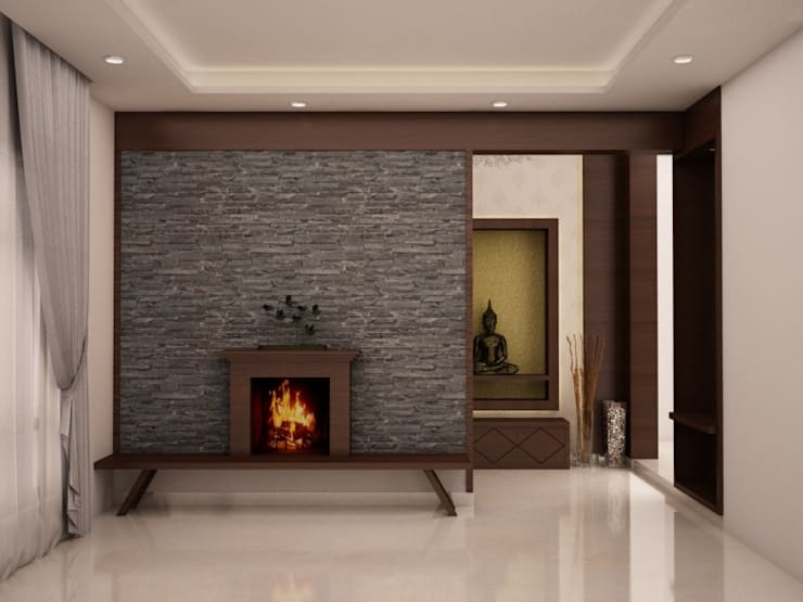 Fire place with TV unit : rustic Living room by NVT Quality Build solution