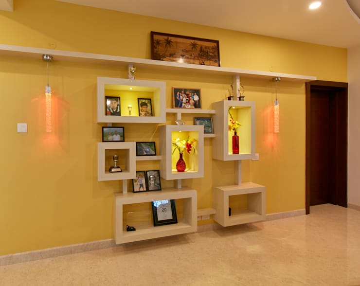 wall Display :  Living room by NVT Quality Build solution