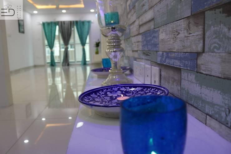3BHK Aparna Sarovar Grande C Block 2050 sqft Turn Key project:  Living room by Enrich Interiors & Decors