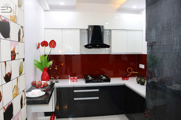 Kitchen Cabinet with Storage Shutters: modern Kitchen by Enrich Interiors & Decors