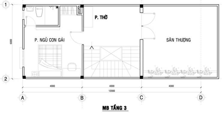 Mặt bằng tầng 3 nhà phố 80m2.:  Nhà gia đình by Công ty TNHH Thiết Kế Xây Dựng Song Phát