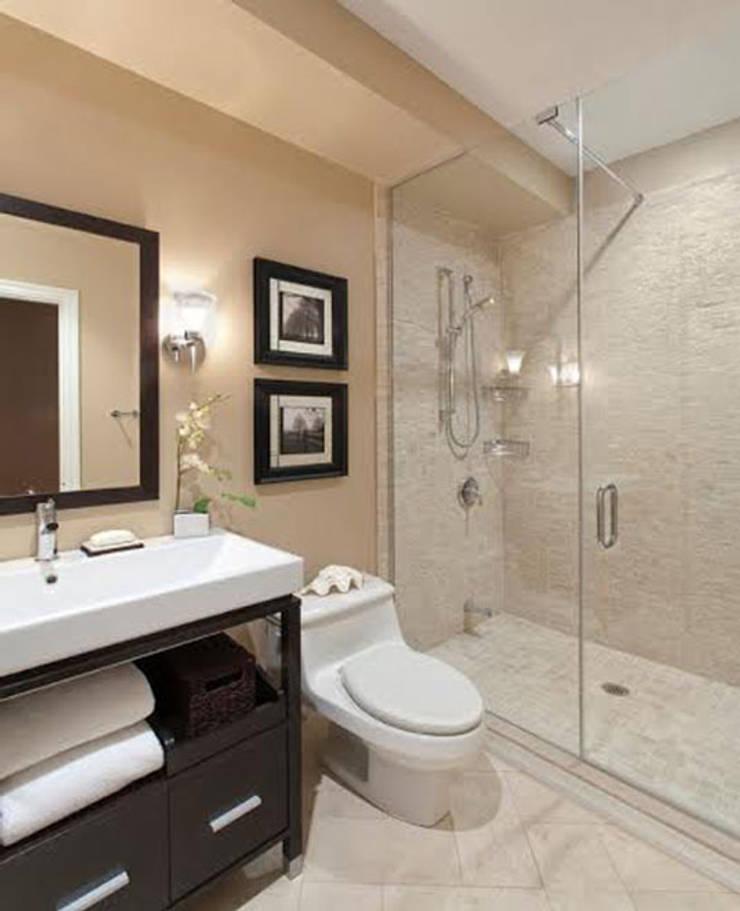 Phòng tắm được KTS lựa chọn gam màu kem chủ đạo.:  Phòng tắm by Công ty TNHH Thiết Kế Xây Dựng Song Phát