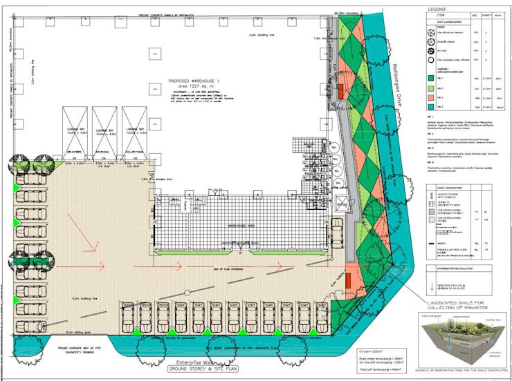 Warehouse development landscaping plan:   by Lemontree Landscape architecture and Design