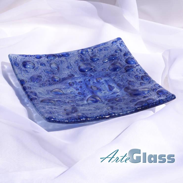 Bowl dark blue 20x20 shallow: modern Living room by ArteGlass