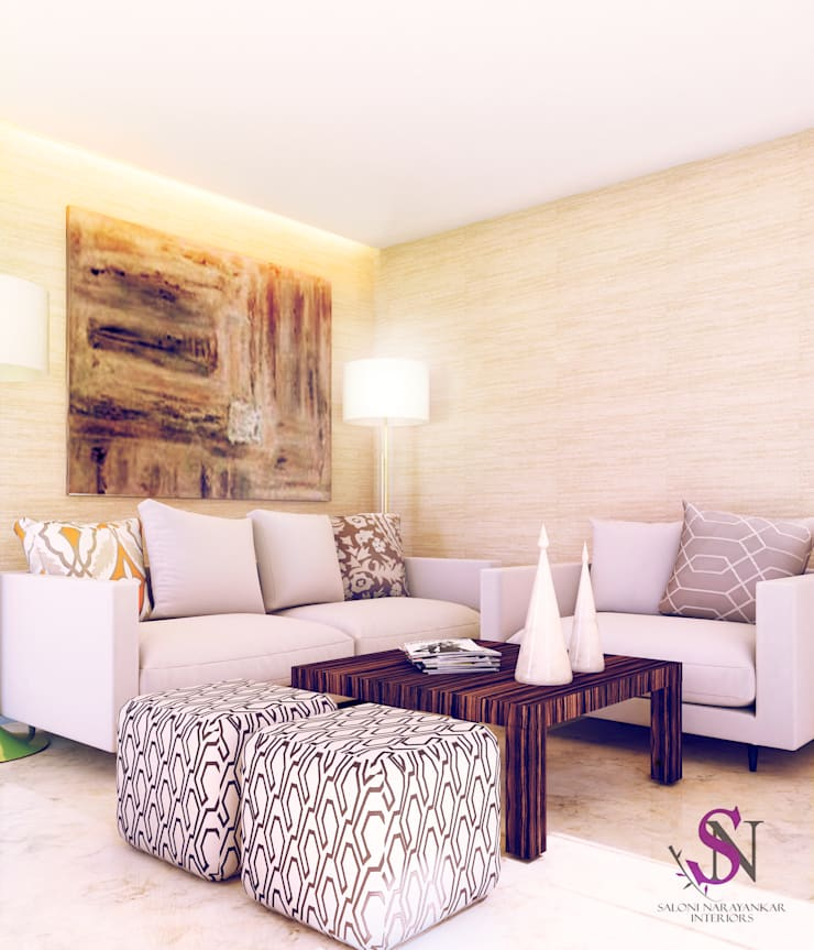 Apartment, Jubilee Hills:  Living room by Saloni Narayankar Interiors,Modern