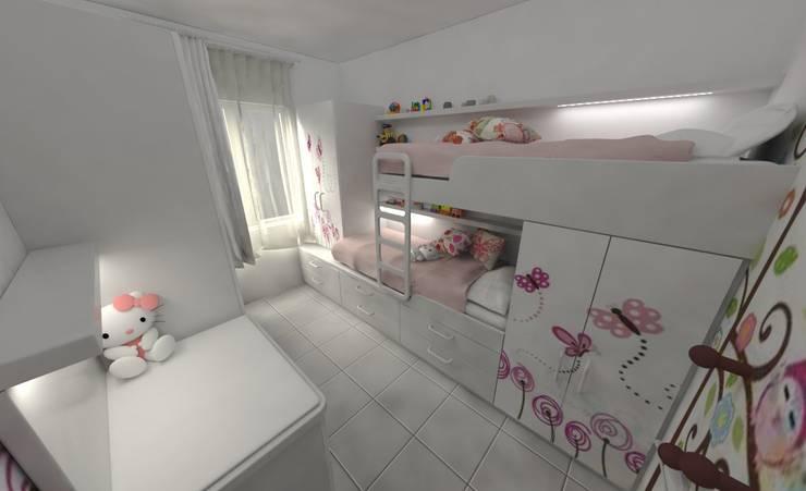 Habitación de de Niñas: Dormitorios infantiles de estilo  por Aida Tropeano & Asoc.,Minimalista Derivados de madera Transparente