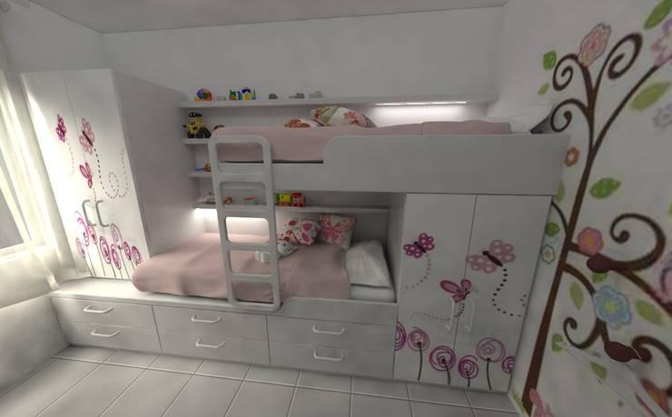 Habitacion de Niñas: Habitaciones para niñas de estilo  por Aida Tropeano & Asoc.,Moderno Derivados de madera Transparente