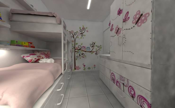 Habitación de de Niñas: Habitaciones para niñas de estilo  por Aida Tropeano & Asoc.,Moderno Derivados de madera Transparente