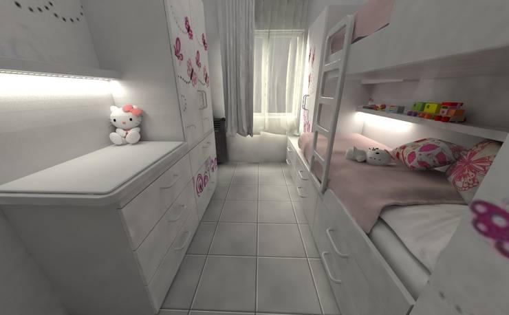 Habitación de de Niñas: Habitaciones para niñas de estilo  por Aida Tropeano & Asoc.,Moderno Compuestos de madera y plástico