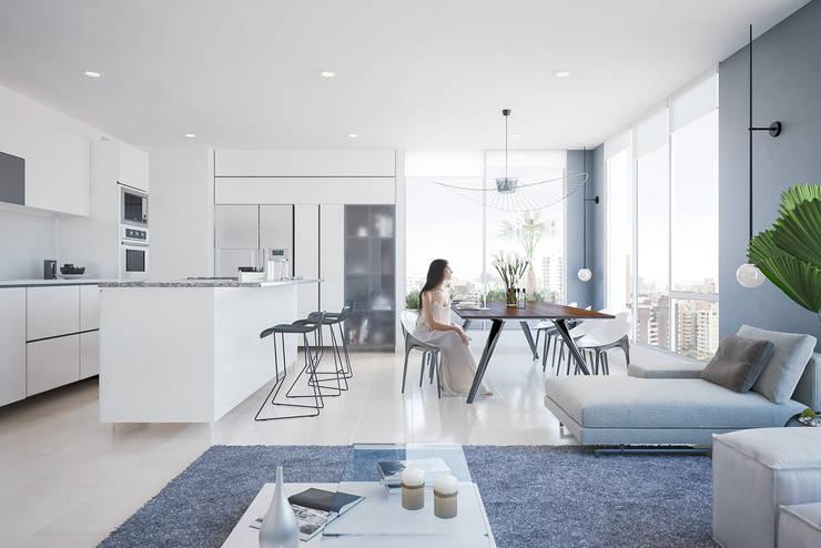 Apartamento de lujo: Comedor de estilo  por Homeshopper