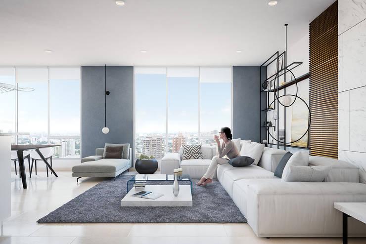 Apartamento de lujo: Salones de estilo  por Homeshopper