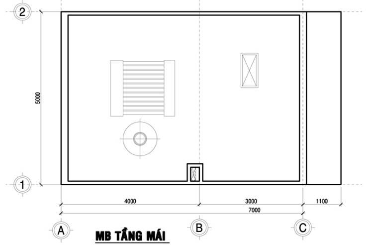 Bản vẽ mặt bằng tầng mái nhà ống 75m2:  Nhà gia đình by Công ty TNHH Thiết Kế Xây Dựng Song Phát