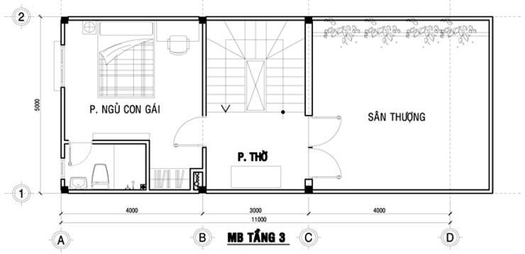 Bản vẽ mặt bằng tầng 3 nhà ống 75m2:  Nhà gia đình by Công ty TNHH Thiết Kế Xây Dựng Song Phát