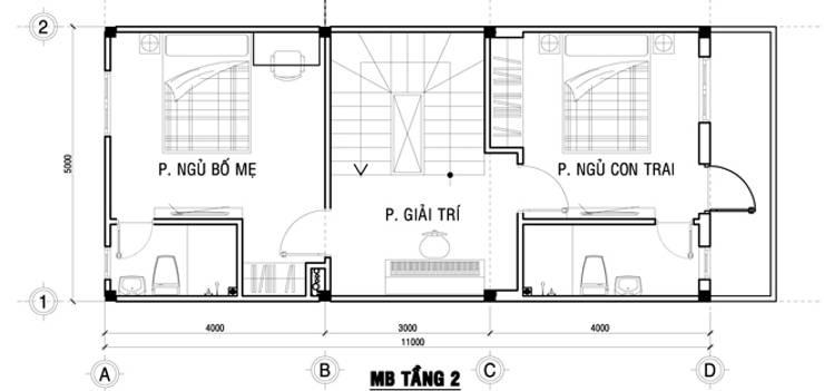 Bản vẽ mặt bằng tầng 2 nhà ống 75m2:  Nhà gia đình by Công ty TNHH Thiết Kế Xây Dựng Song Phát