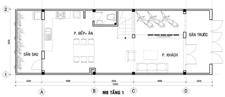 Bản vẽ mặt bằng tầng 1 nhà ống 75m2:  Nhà gia đình by Công ty TNHH Thiết Kế Xây Dựng Song Phát