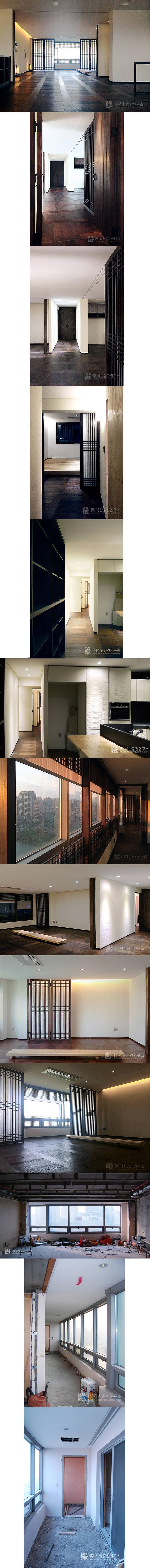 잠실 현대레이크빌 리모델링 - 미니멀 한옥 컨셉의 디자인: 주식회사 착한공간연구소의  거실