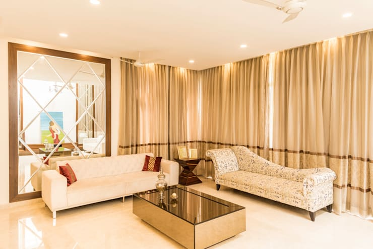 Cove lighting and curtains : modern Living room by NVT Quality Build solution
