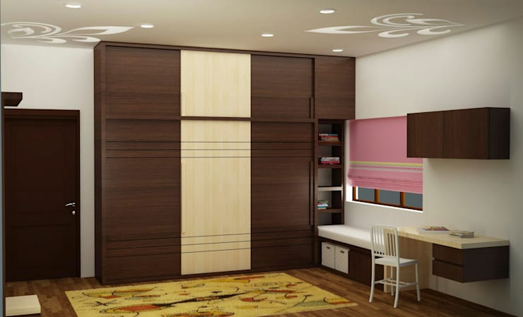 Wardrobe with study : asian Bedroom by NVT Quality Build solution