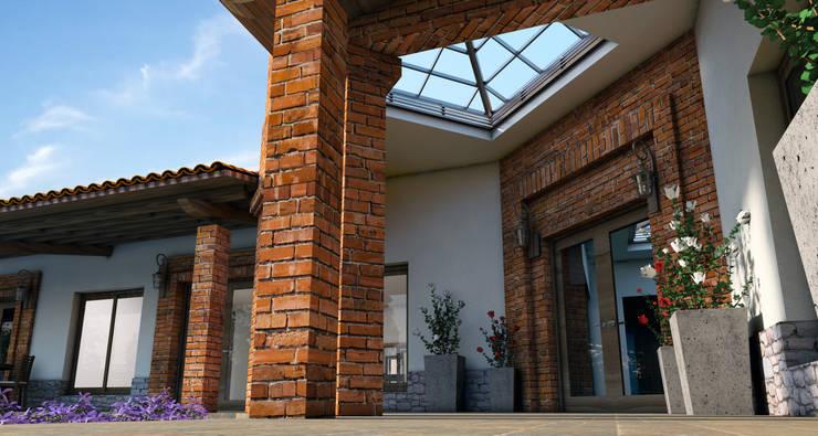 DISEÑO DE FACHADAS INTERIORES: Pasillos y recibidores de estilo  por Acrópolis Arquitectura