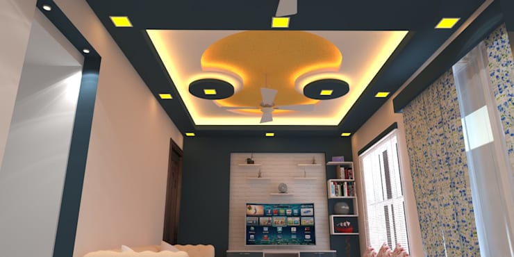Shriyans Apartment Pune - Mr Ashish:  Living room by DECOR DREAMS